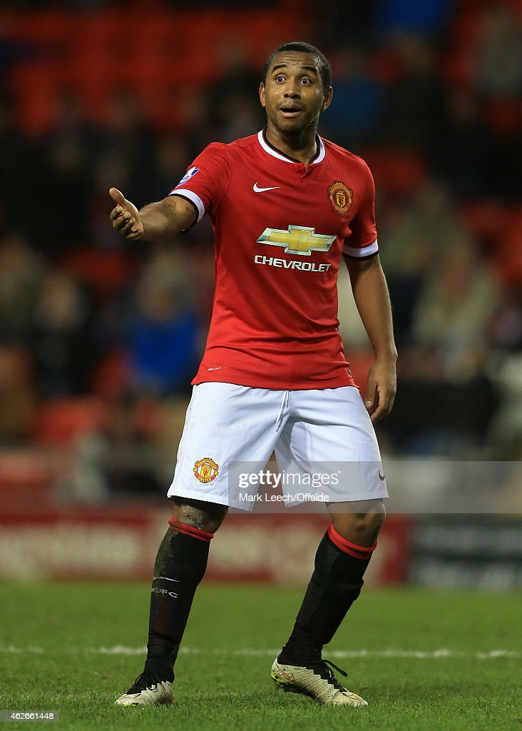 Anderson of Man Utd gestures during the Barclays U21 Premier League match between Manchester United and Liverpool at Leigh Sports Village on January 26, 2015 in Leigh, England.