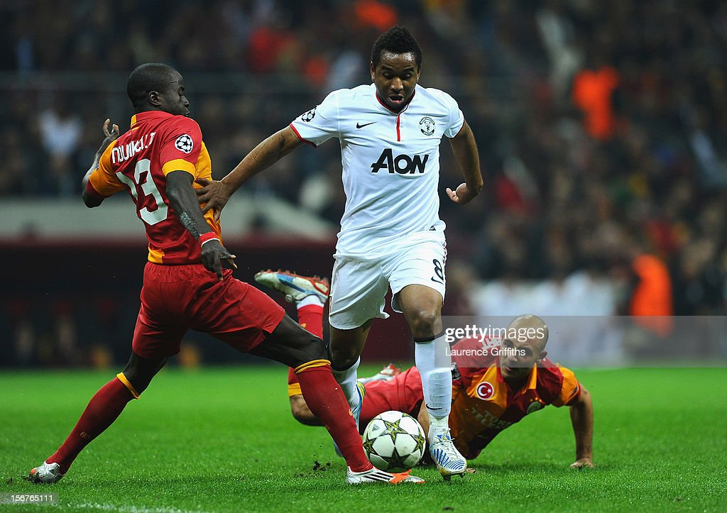 Anderson of Manchester United battles with Nordin Amrabat of Galatasary during the UEFA Champions League Group H match between Galatasaray and Manchester United at the Turk Telekom Arena on November 20, 2012 in Istanbul, Turkey.