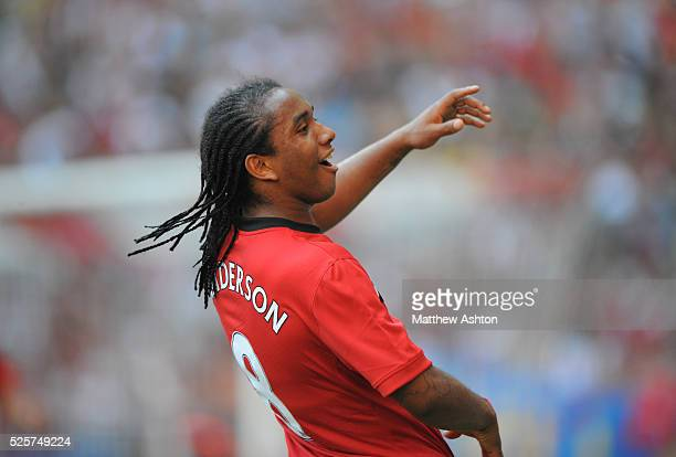 Anderson of Manchester United celebrates after scoring the opening goal from a free kick