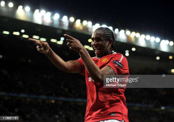 Anderson of Manchester United celebrates scoring his team's fourth goal during the UEFA Champions League Semi Final second leg match between...