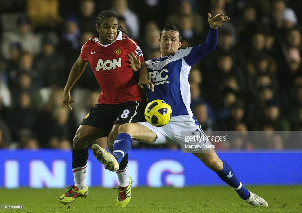 Anderson of Manchester United clashes with Barry Ferguson of Birmingham City during the Barclays Premier League match between Birmingham City and...