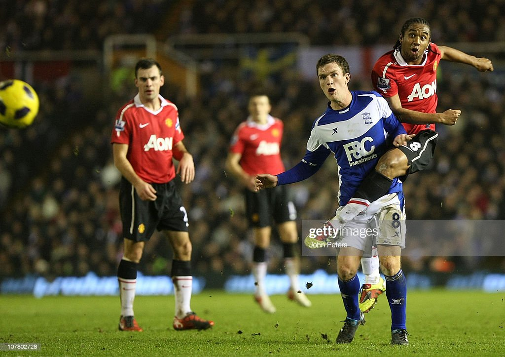 Anderson of Manchester United clashes with Craig Gardner of Birmingham City during the Barclays Premier League match between Birmingham City and...