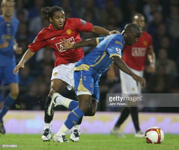 Anderson of Manchester United clashes with Lassana Diarra of Portsmouth during the FA Premier League match between Portsmouth and Manchester United...