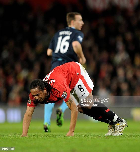Anderson of Manchester United goes off injured during the Barclays Premier League match between Manchester United and West Ham United at Old Trafford...