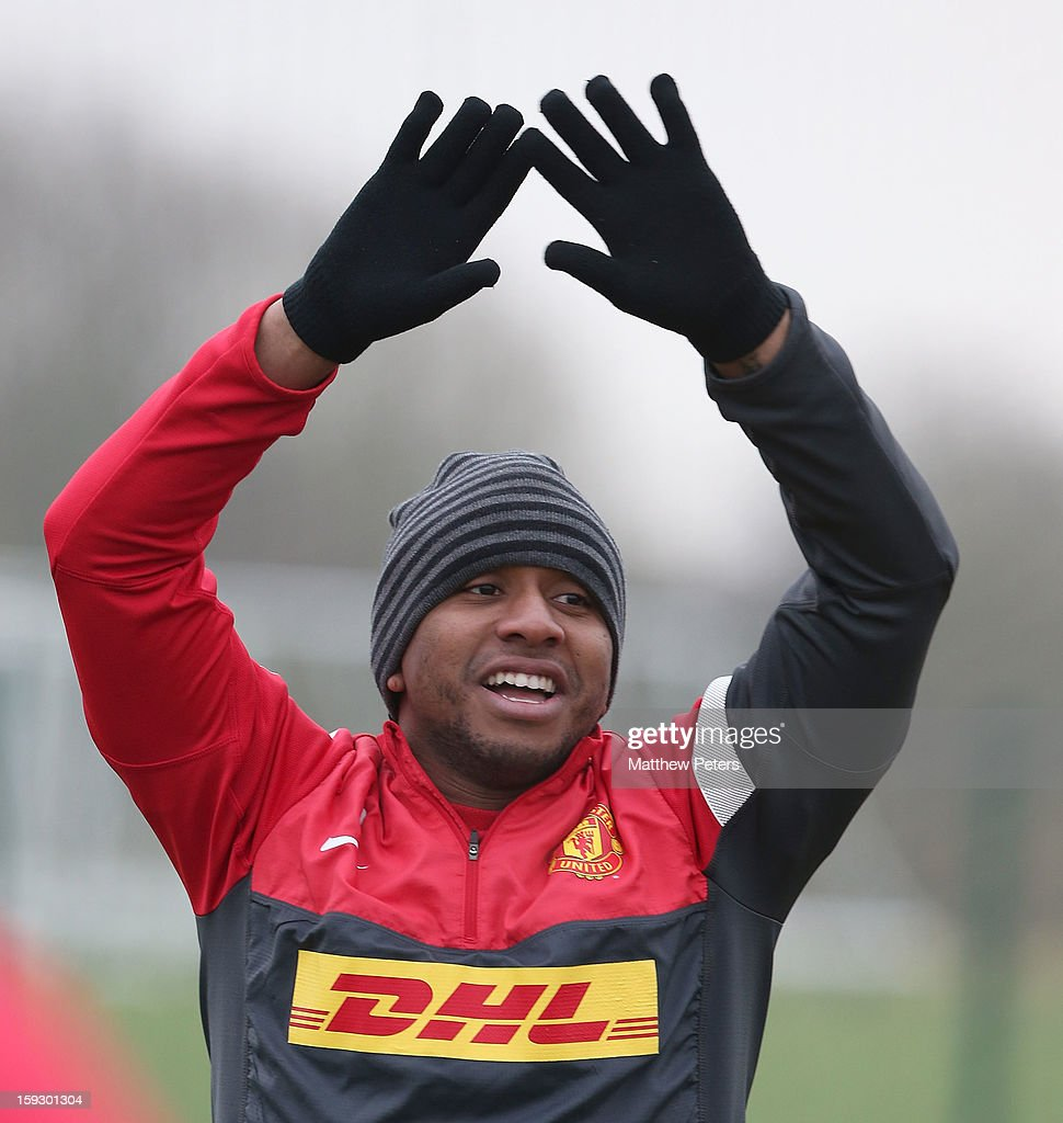 Anderson of Manchester United in action during a first team training session at Carrington Training Ground on January 11, 2013 in Manchester, England.