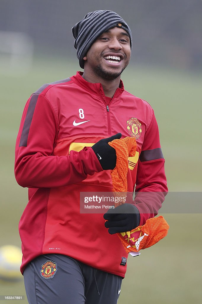 Anderson of Manchester United in action during a first team training session at Carrington Training Ground on March 8, 2013 in Manchester, England.
