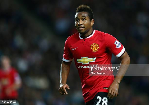 Anderson of Manchester United in action during the Capital One Cup second round match between MK Dons and Manchester United at Stadium mk on August...