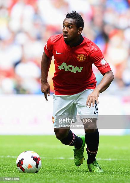 Anderson of Manchester United in action during the FA Community Shield match between Manchester United and Wigan Athletic at Wembley Stadium on...