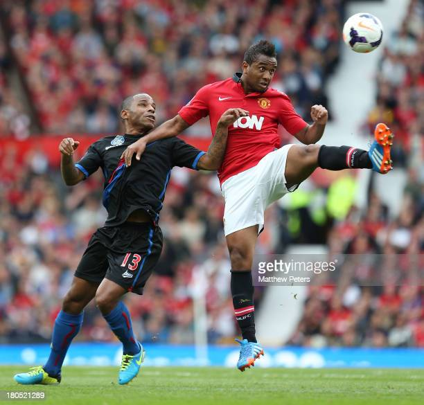 Anderson of Manchester United in action with Jason Puncheon of Crystal Palace during the Barclays Premier League match between Manchester United and...