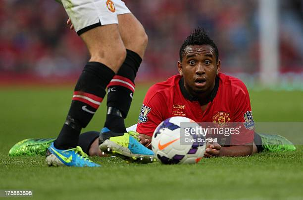 Anderson of Manchester United keeps a close eye on the ball during the Rio Ferdinand Testimonial Match between Manchester United and Sevilla at Old...