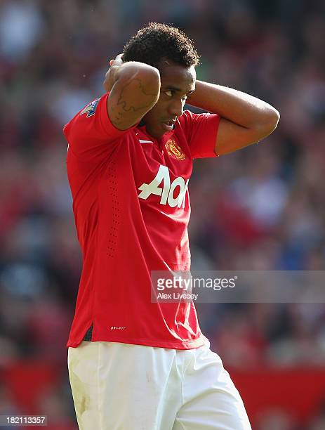 Anderson of Manchester United looks on during the Barclays Premier League match between Manchester United and West Bromwich Albion at Old Trafford on...