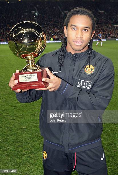Anderson of Manchester United poses with his Tuttosport Golden Boy of 2008 award ahead of the Barclays Premier League match between Manchester United...