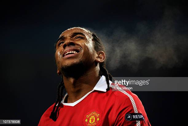 Anderson of Manchester United reacts to a missed chance during the UEFA Champions League Group C match between Manchester United and Valencia at Old...