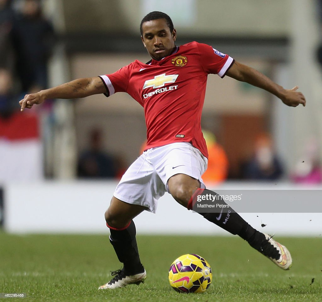 Anderson of Manchester United U21s in action during the Barclays U21 Premier League match between Manchester United and Liverpool at Leigh Sports Village on January 26, 2015 in Leigh, Greater Manchester.