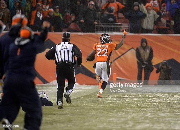 J Anderson of the Denver Broncos breaks free and scores the gamewinning touchdown in overtime The Broncos played the New England Patriots at Sports...