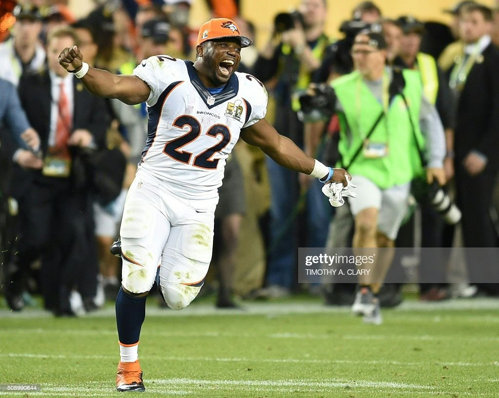 C. J. Anderson of the Denver Broncos celebrates after Super Bowl 50 at Levi's Stadium in Santa Clara, California February 7, 2016. The Broncos beat the Carolina Panthers 24-10. / AFP / TIMOTHY A. CLARY