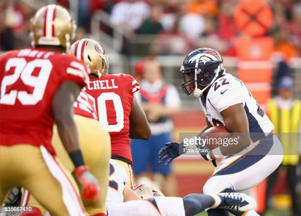 J Anderson of the Denver Broncos runs in for a touchdown against the San Francisco 49ers at Levi's Stadium on August 19 2017 in Santa Clara California
