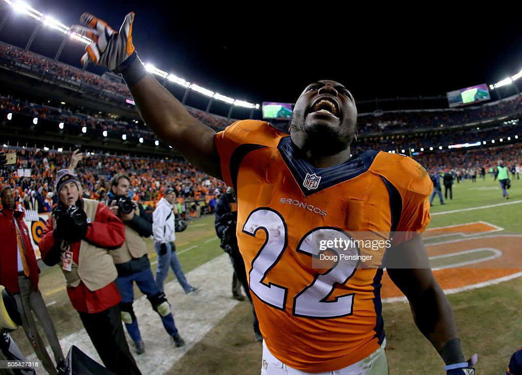 J Anderson of the Denver Broncos yells as he walks off the field afterthe AFC Divisional Playoff Game against the Pittsburgh Steelers at Sports...