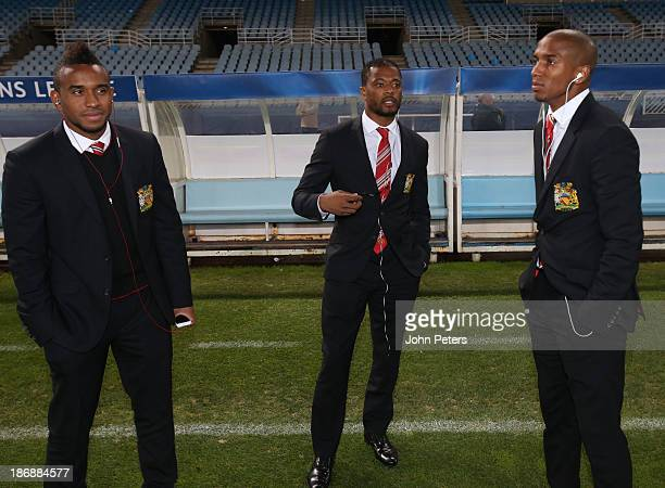 Anderson Patrice Evra and Ashley Young of Manchester United inspect the pitch ahead of their UEFA Champions League Group A match against Real...