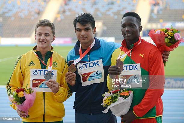 Anderson Peters from Grenada Neeraj Chopra from India and Johan Grobler from South Africa on the podium after men's jewelin throw during the IAAF...
