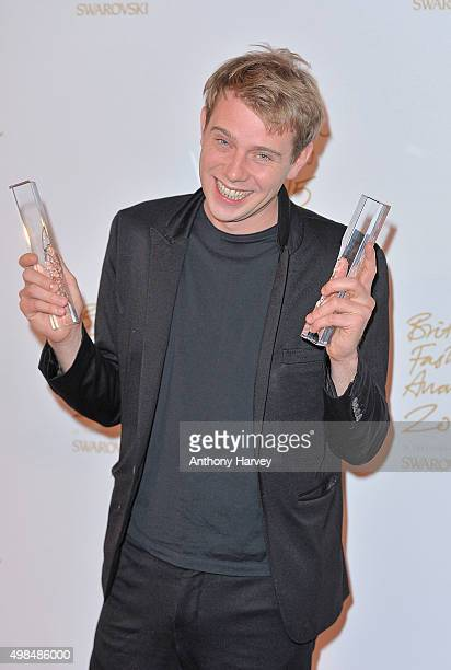 W Anderson poses in the Winners Room at the British Fashion Awards 2015 at London Coliseum on November 23 2015 in London England