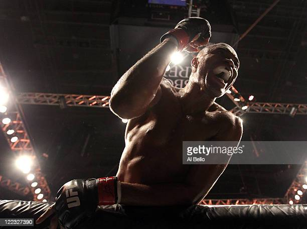 Anderson Silva celebrates after knocking out Yushin Okami in the UFC Middleweight Championship bout at UFC 134 at HSBC Arena on August 27 2011 in Rio...