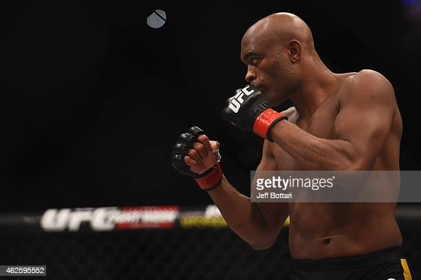 Anderson Silva faces Nick Diaz in their middleweight bout during the UFC 183 event at the MGM Grand Garden Arena on January 31 2015 in Las Vegas...