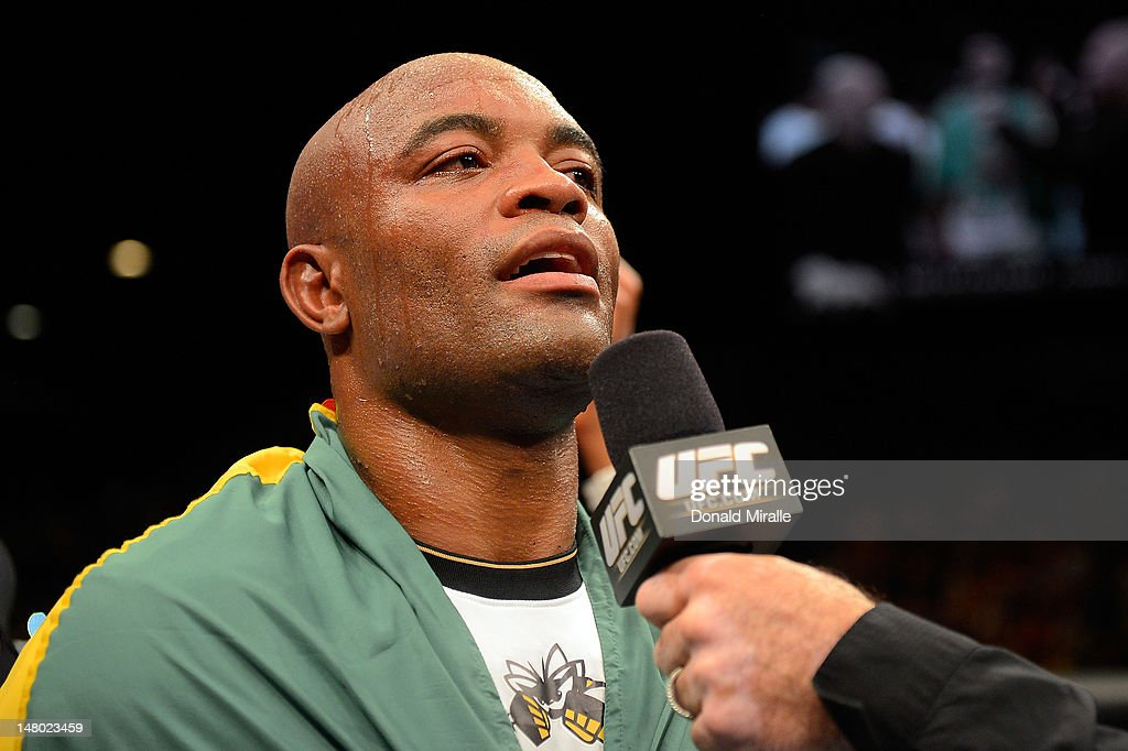 Anderson Silva is interviewed after knocking out Chael Sonnen during their UFC middleweight championship bout at UFC 148 inside MGM Grand Garden Arena on July 7, 2012 in Las Vegas, Nevada.