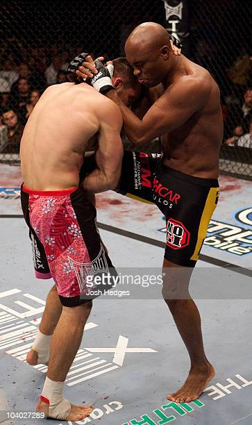 Anderson Silva knees Rich Franklin at UFC 64 at the Mandalay Bay Events Center on October 14 2006 in Las Vegas Nevada