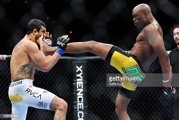 Anderson Silva lands a kick to the jaw of Vitor Belfort that knocked out the Brazilian challenger at UFC 126 at the Mandalay Bay Resort and Casino on...