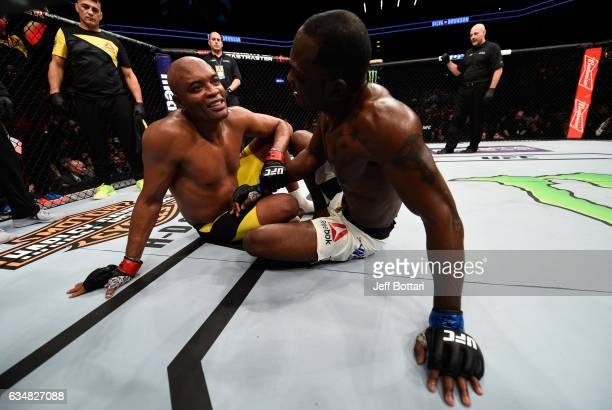 Anderson Silva of Brazil and Derek Brunson embrace after their middleweight bout during the UFC 208 event inside Barclays Center on February 11 2017...