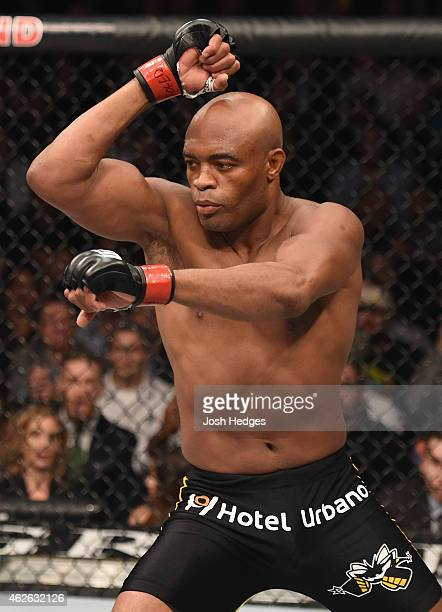 Anderson Silva of Brazil battles Nick Diaz in their middleweight bout during the UFC 183 event at the MGM Grand Garden Arena on January 31 2015 in...