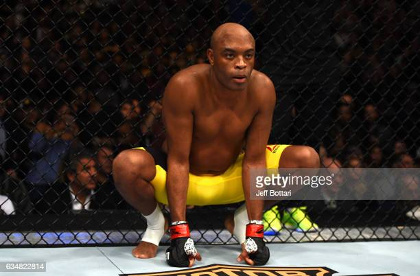 Anderson Silva of Brazil enters the Octagon before facing Derek Brunson in their middleweight bout during the UFC 208 event inside Barclays Center on...