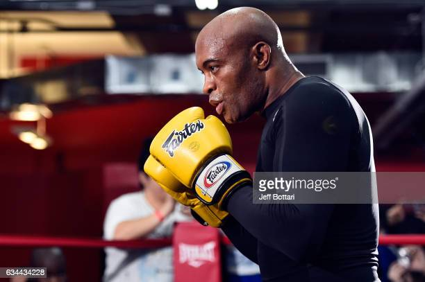 Anderson Silva of Brazil holds an open workout for fans and media at Gleason's Gym on February 9 2017 in Brooklyn New York