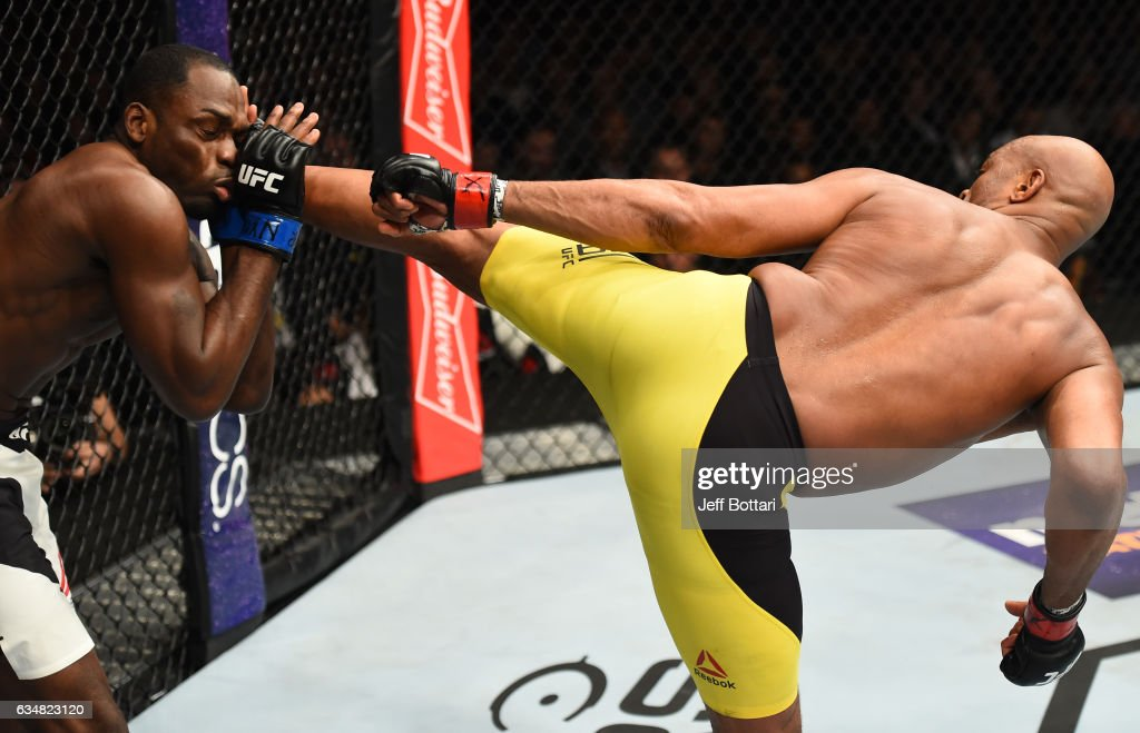 Anderson Silva of Brazil kicks Derek Brunson in their middleweight bout during the UFC 208 event inside Barclays Center on February 11, 2017 in Brooklyn, New York.