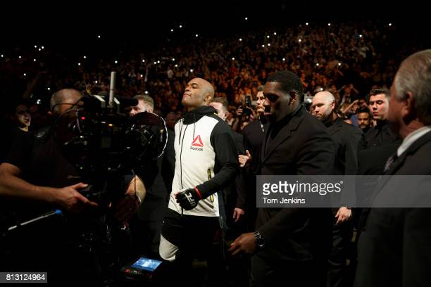 Anderson Silva of Brazil makes his way to the octagon before his fight with Michael Bisping of Great Britain at the UFC Ultimate Fighting...