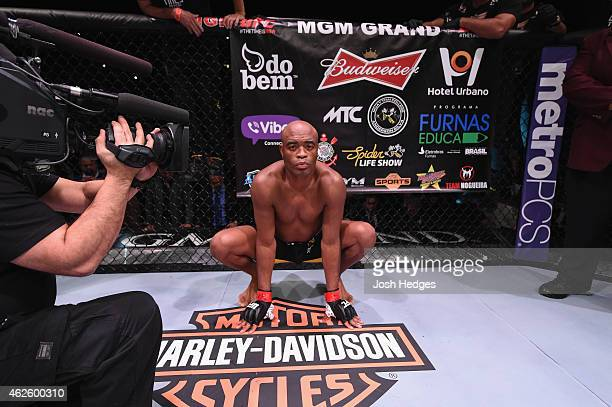 Anderson Silva prepares to face Nick Diaz in their middleweight bout during the UFC 183 event at the MGM Grand Garden Arena on January 31 2015 in Las...