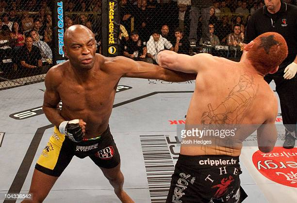 Anderson Silva punches Chris Leben at UFC Fight Night 5 at the Joint at the Hard Rock on June 28 2006 in Las Vegas Nevada