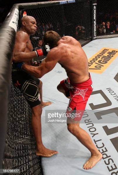 Anderson Silva punches Stephan Bonnar during their light heavyweight fight at UFC 153 inside HSBC Arena on October 13 2012 in Rio de Janeiro Brazil