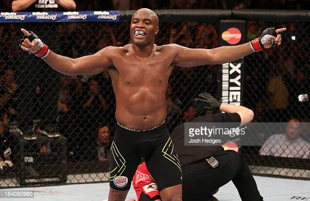 Anderson Silva reacts after his TKO victory over Stephan Bonnar during their light heavyweight fight at UFC 153 inside HSBC Arena on October 13 2012...