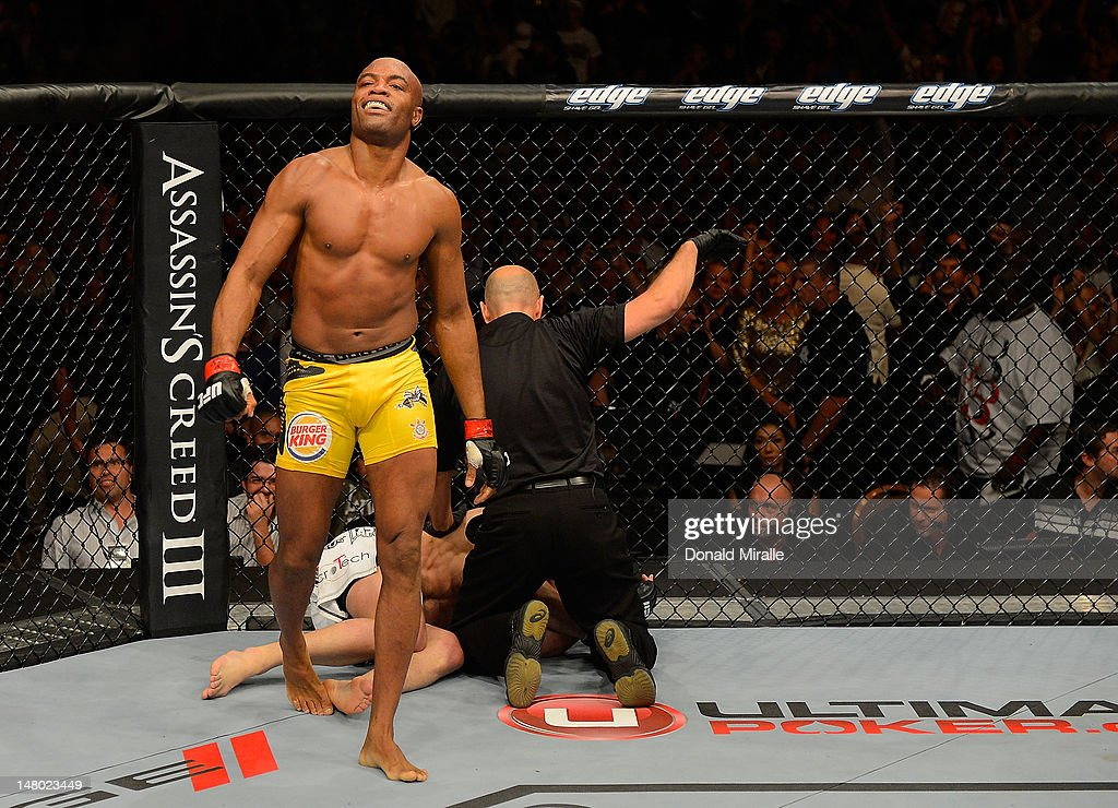 Anderson Silva reacts after knocking out <a gi-track='captionPersonalityLinkClicked' href=/galleries/search?phrase=Chael+Sonnen&family=editorial&specificpeople=5434559 ng-click='$event.stopPropagation()'>Chael Sonnen</a> during their UFC middleweight championship bout at UFC 148 inside MGM Grand Garden Arena on July 7, 2012 in Las Vegas, Nevada.