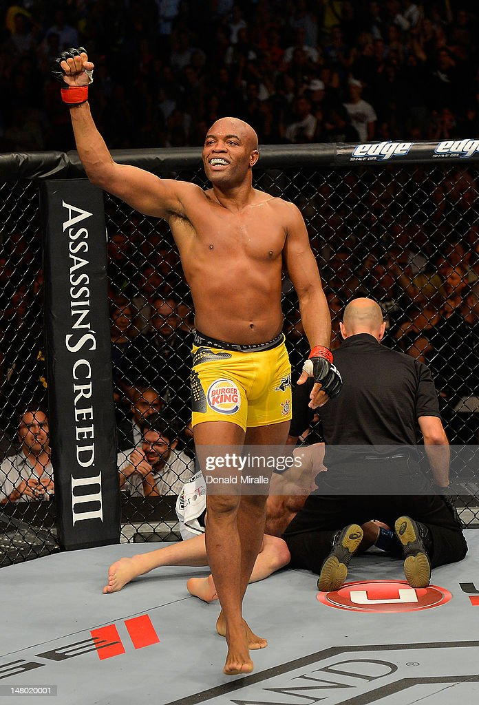 Anderson Silva reacts to his victory over Chael Sonnen during their UFC middleweight championship bout at UFC 148 inside MGM Grand Garden Arena on July 7, 2012 in Las Vegas, Nevada.