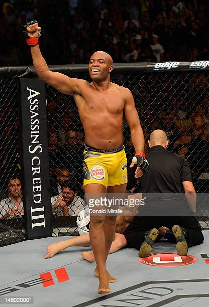 Anderson Silva reacts to his victory over Chael Sonnen during their UFC middleweight championship bout at UFC 148 inside MGM Grand Garden Arena on...