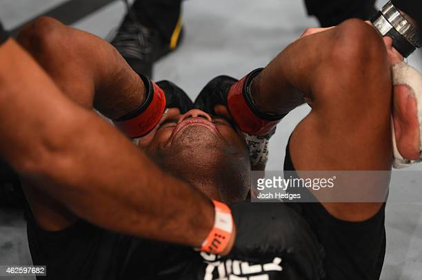 Anderson Silva reacts to his victory over Nick Diaz in their middleweight bout during the UFC 183 event at the MGM Grand Garden Arena on January 31...