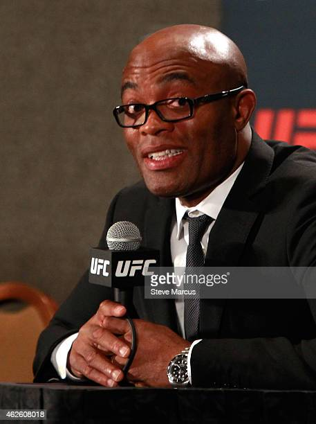 Anderson Silva responds to a question at a postfight news conference after a middleweight fight against Nick Diaz during UFC 183 at the MGM Grand...