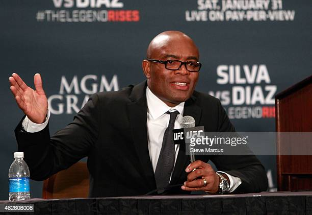 Anderson Silva speaks at a postfight news conference after a middleweight fight against Nick Diaz during UFC 183 at the MGM Grand Garden Arena on...