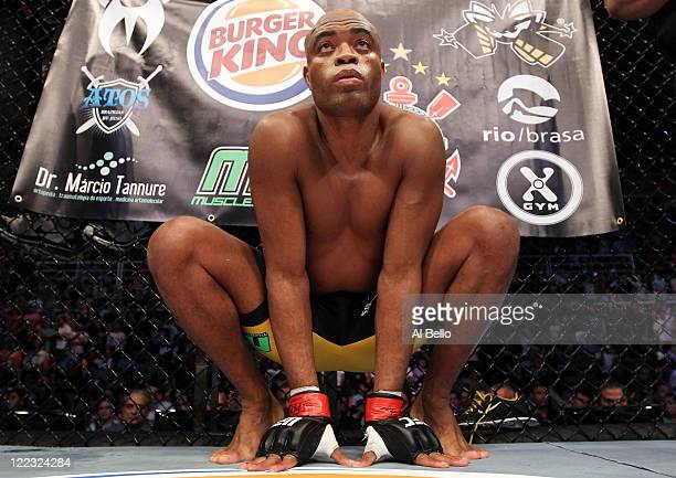 Anderson Silva stands in his corner before the UFC Middleweight Championship bout at UFC 134 at HSBC Arena on August 27 2011 in Rio de Janeiro Brazil