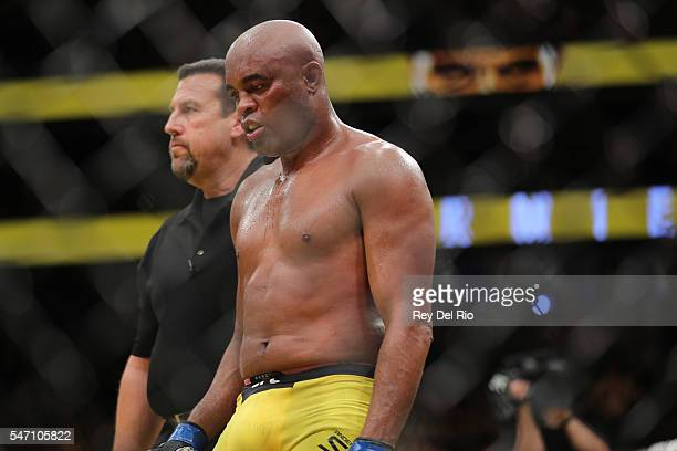 Anderson Silva walks back to his corner during the UFC 200 event at TMobile Arena on July 9 2016 in Las Vegas Nevada