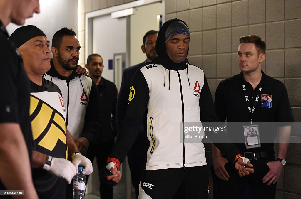 Anderson Silva warms up backstage before facing Michael Bisping in their middleweight bout during the UFC Fight Night held at at Indigo at The O2...