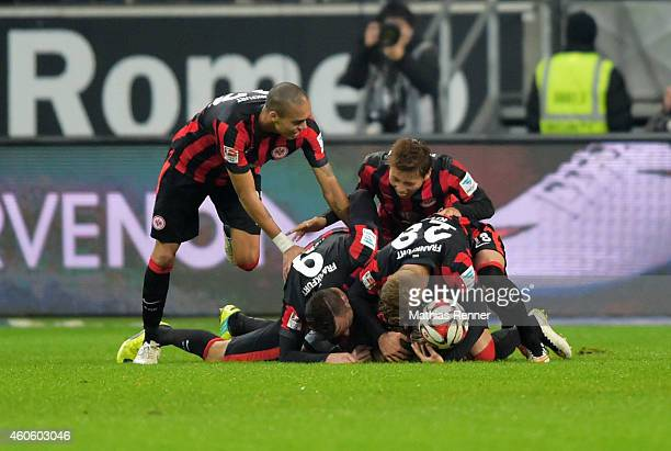Anderson Soares de Oliveira Haris Seferovic Alexander Meier Takashi Inui Sonny Kittel of Eintracht Frankfurt celebrate after scoring the 44 during...